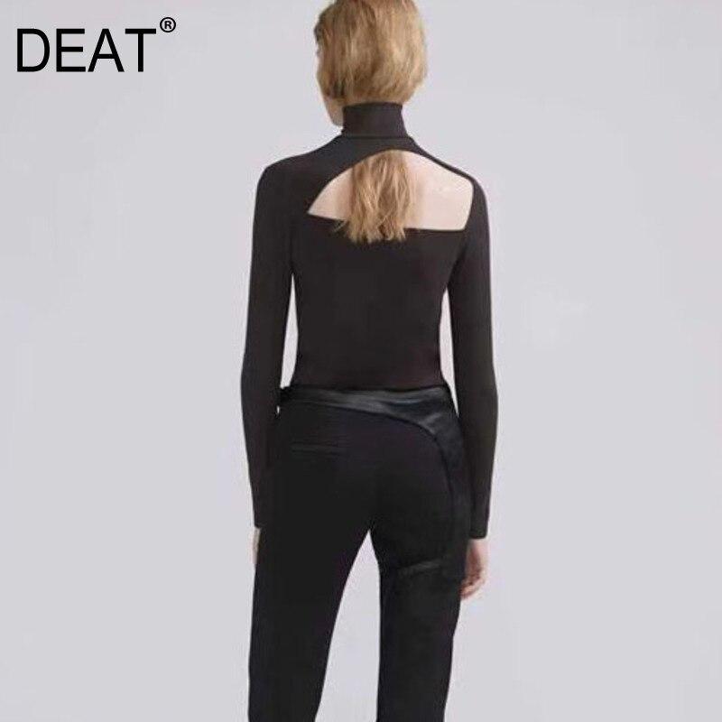 DEAT 2020 nueva ropa de Moda de Primavera para mujeres, cuello alto con huecos, mangas completas, camiseta delgada de calidad delgada WK32016L