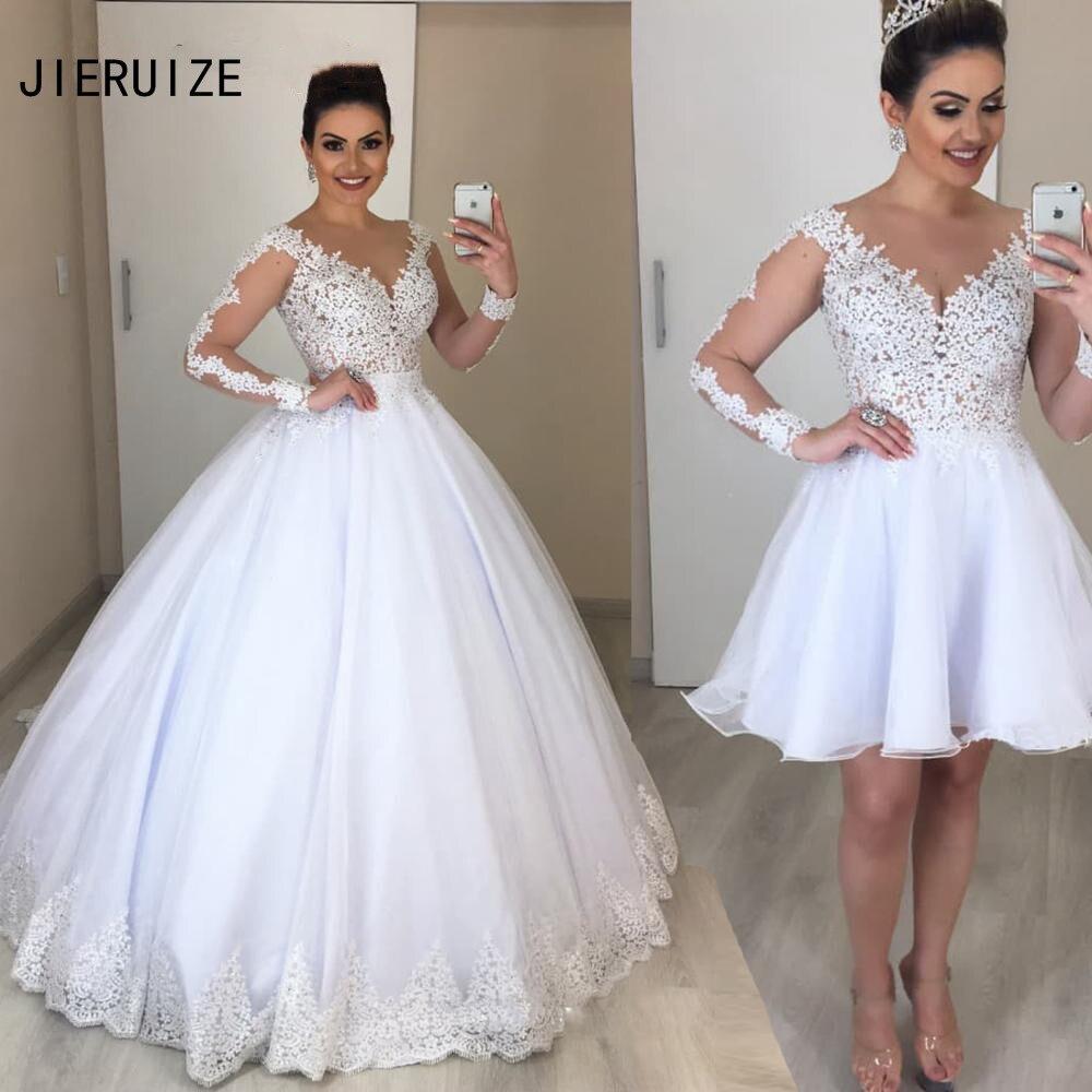 JIERUIZE vestido de fiesta vestidos de novia con falda de quita y pon 2 en 1 manga larga cuello en V vestidos de boda de encaje vestido de novia bata de mariee