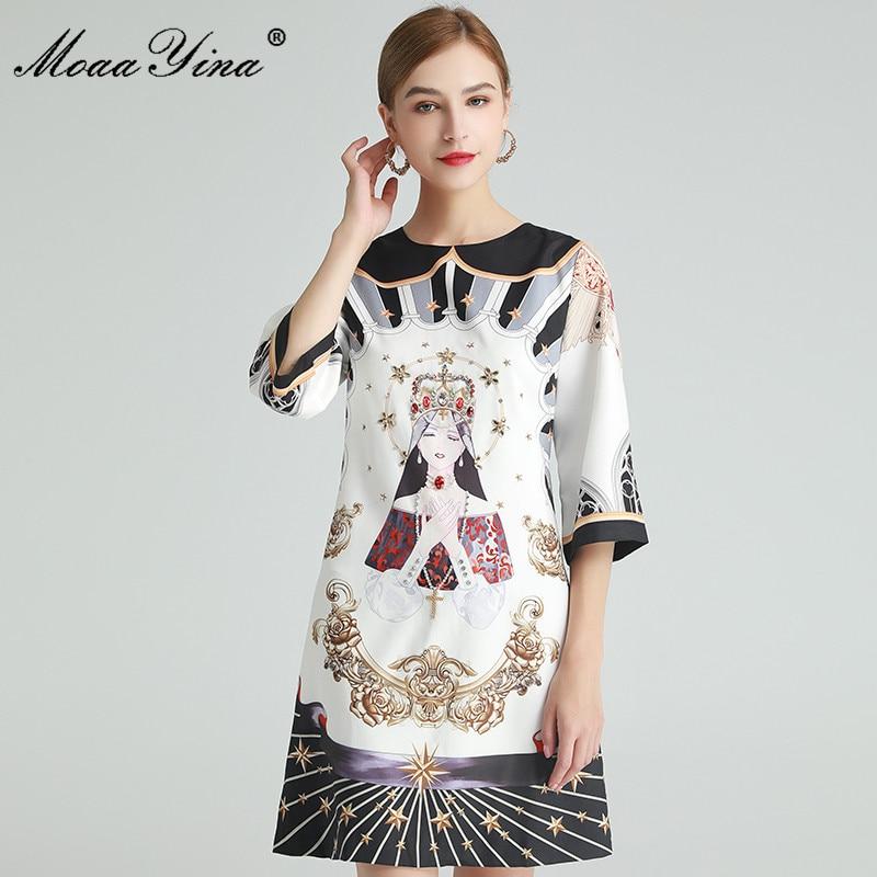 MoaaYina-فستان مصمم أزياء ، فستان صيفي نسائي ، مطرز بالكريستال والماس ، طباعة فنية شعبية