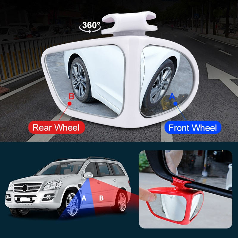 New Car Blind Spot Mirror Rotatable 2 Side Wide Angle HD For Reverse Rearview Auxiliary