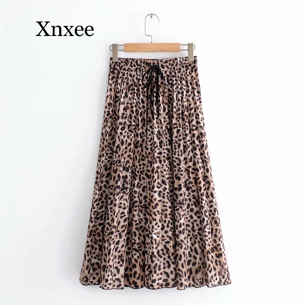 New Women Vintage leopard printing pleated midi skirt faldas mujer ladies elastic waist sashes chic mid-calf skirts