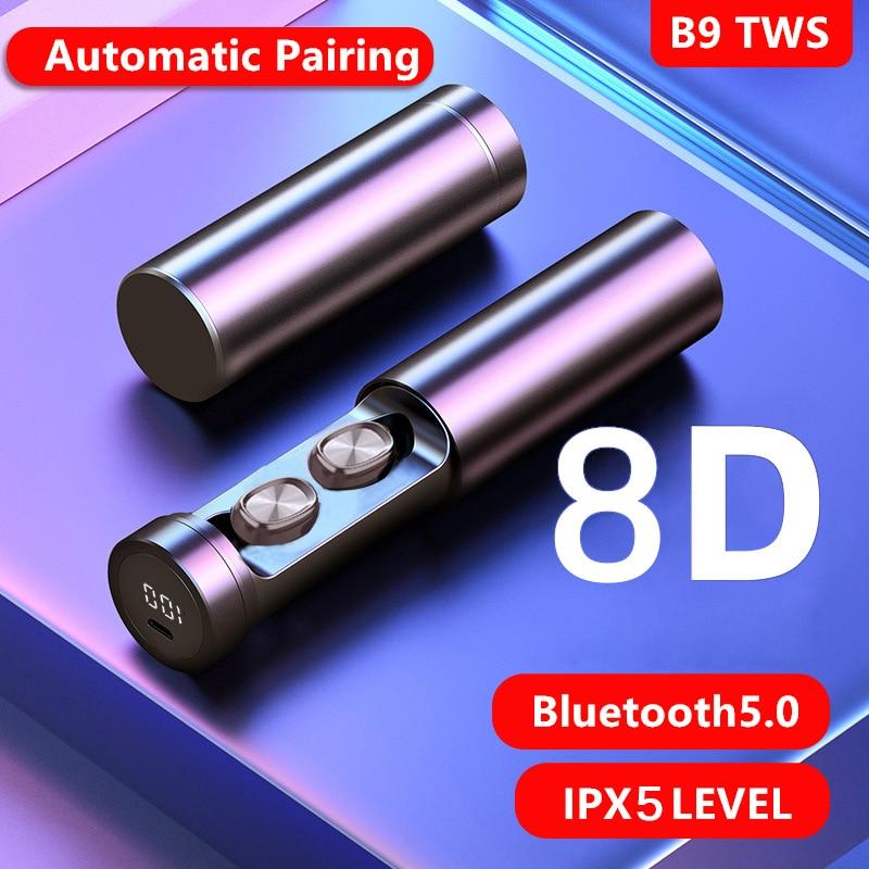 TWS Bluetooth 5.0 Earphones Wireless Headphone 8D Stereo Sports Waterproof Earbuds Headsets With Mic