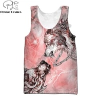 beautiful tattoo red wolf 3d all over printed men vest summer fashion harajuku sleeveless t shirt unisex tank tops bx 0028