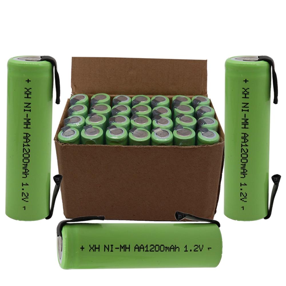 4/8/12/20 Uds AA batería recargable 1,2 V 1200mAh Ni-MH batería con aguja de placa de níquel soldado DIY Afeitadora eléctrica aa batería