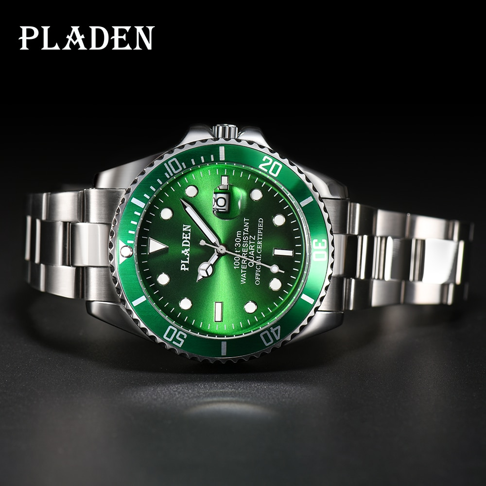PLADEN Mens Wrist Watches Top Brand Luxury  Japan Movt Calendar Stainless Steel Green Ghost Clock Wa
