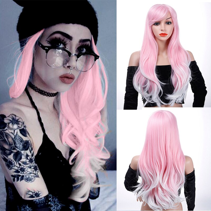 Lupu ombre rosa peruca para mulheres onda longa cabelo sintético com franja natural falso peças de cabelo fibra alta temperatura cosplay perucas