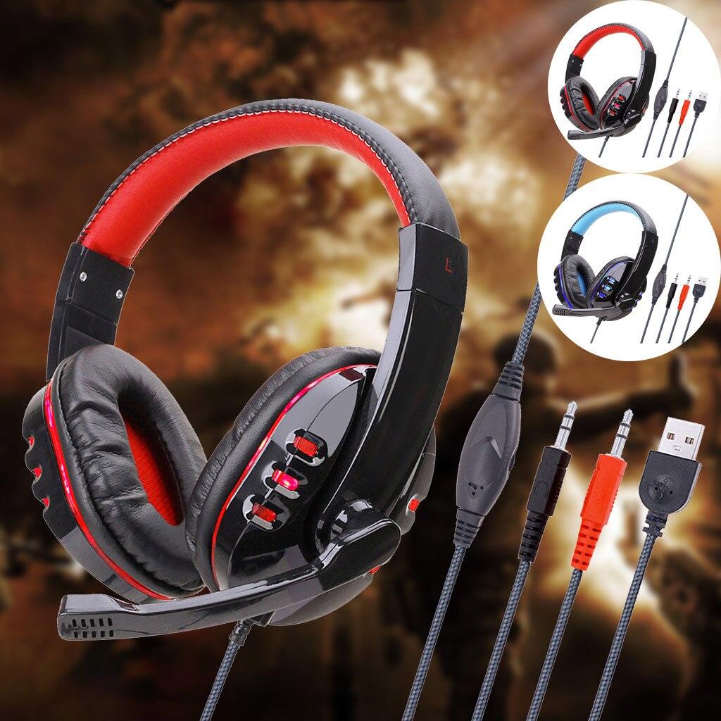 Ostart Stereo 3,5mm auriculares con cable con micrófono ajustable auriculares para juegos auriculares graves bajos estéreo para PC PS4 #4