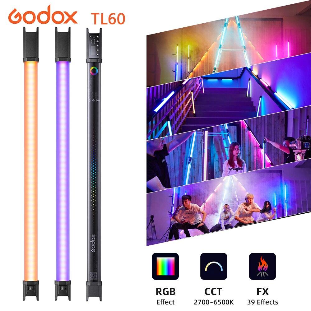 Godox TL60 RGB مصباح أنبوبي اللون يده اللون المزاج 2700K ~ 6500K دعم التطبيق عن بعد للعيش Tiktok يوتيوب التصوير استوديو