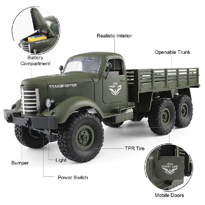 JJRC Q60 Q61 RC Car Toys 1:16 4/6WD Military Truck 2.4G Climbing Car Off Road Remote Control Truck Military Vehicle Kids Gifts enlarge