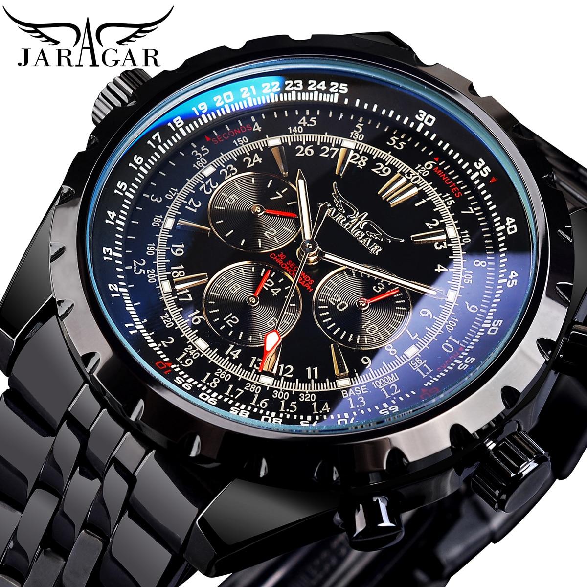 Jaragar الأزرق الزجاج تصميم أسود فضي ساعة أوتوماتيكية الفولاذ المقاوم للصدأ تاريخ ساعة مضيئة الرجال الأعمال الميكانيكية ساعة اليد