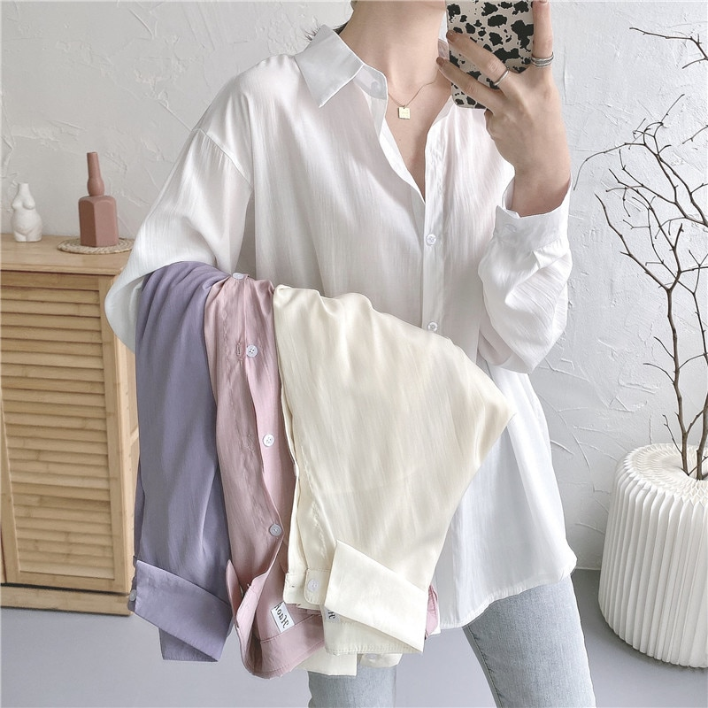 White Shirt Women's Wear in Summer 2021 New Long Sleeve Loose Medium and Long Wear Thin Sunscreen Cl