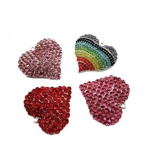10pcs/lot  Fashion Jewelry Rhinestone Heart Shape Pendant For Necklace