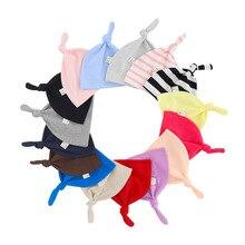 Gorros de bebé con cola para recién nacido, gorros de punto de Color sólido, gorros para niño y niña, gorro cálido informal