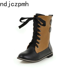 Women Boots Autumn and Winter Fashion Round Head Comfortable Lace-up Low-heeled Mid Boots Black Plus Size 34-46 New Arrival 2020