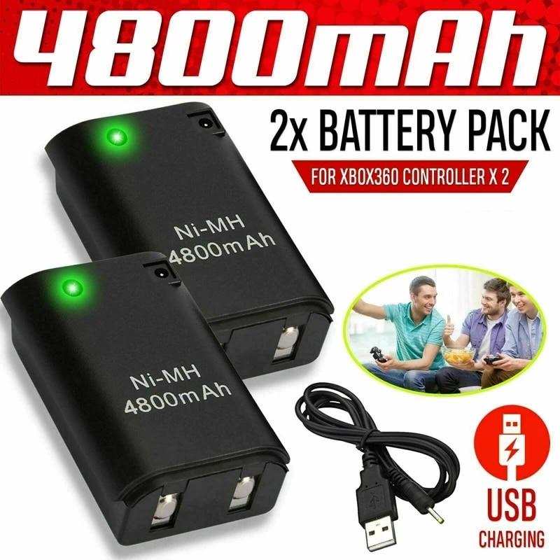 Paquete de batería de 2x4800mAh + Cable de cargador 2x para Xbox...