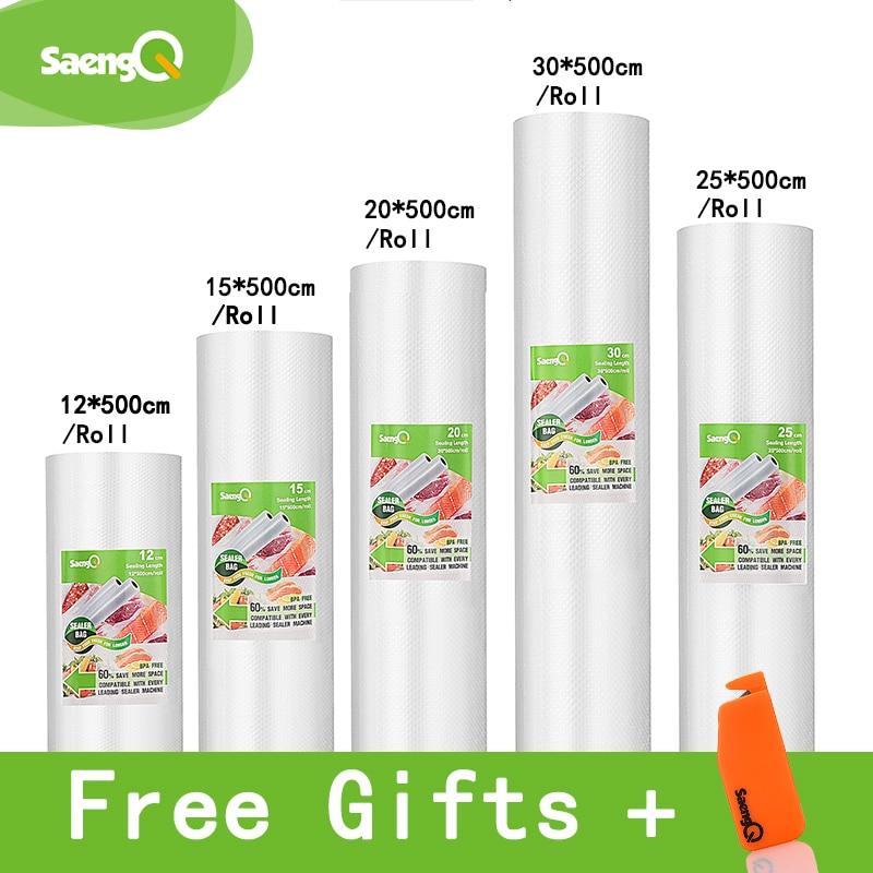 saengQ vacuum bags for food Vacuum Sealer Food Fresh Long Keeping 12+15+20+25+30cm*500cm Rolls/Lot bags for vacuum packer