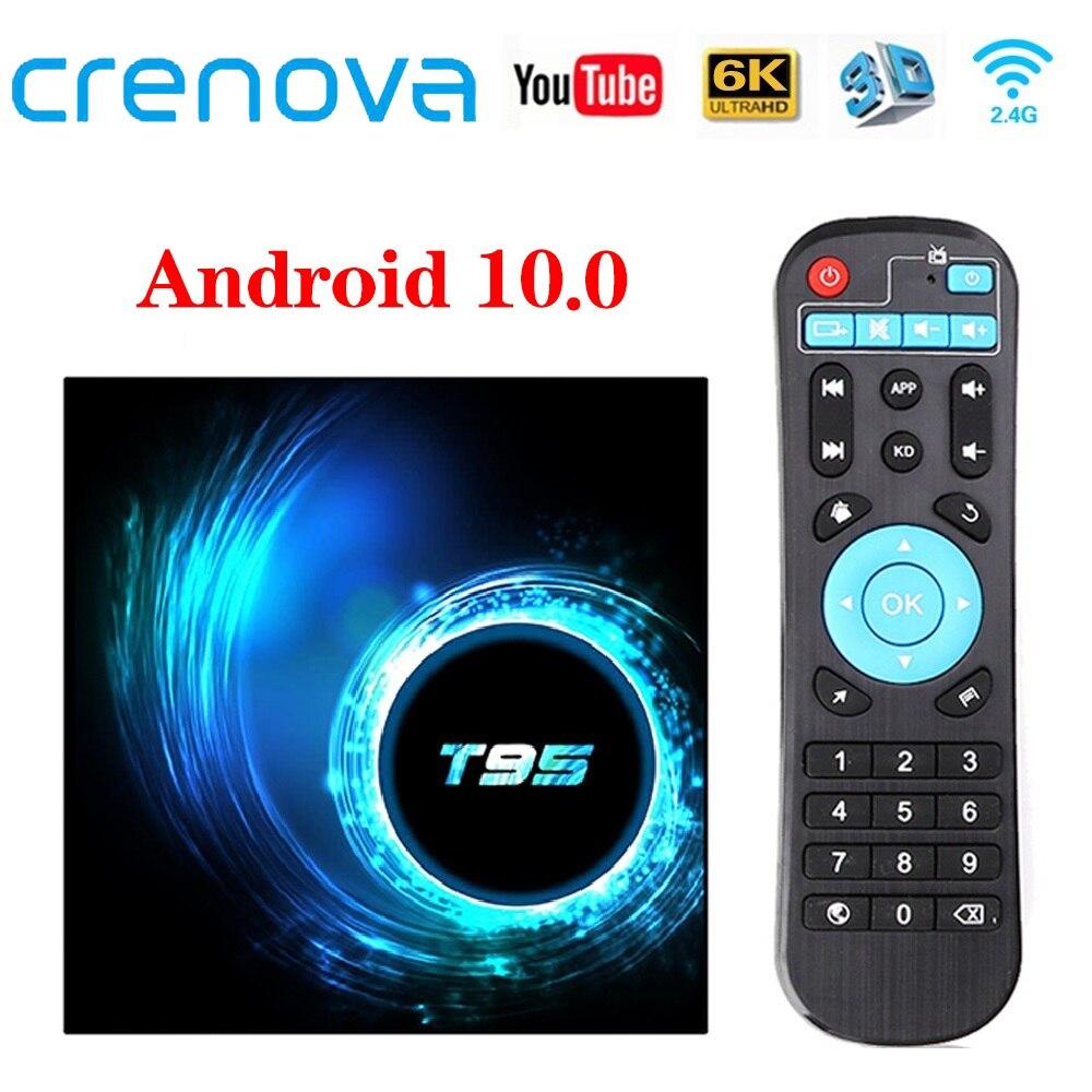CRENOVA T95 TV Box Android 10,0 4GB 32GB 64GB Quad Core 1080P H.265 6K YouTube reproductor de medios 2GB 16GB Set top box