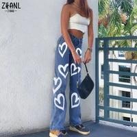womens vintage heart printed y2k baggy jeans pants women high waist harajuku aesthetic mom jeans denim streetwear 90s trousers