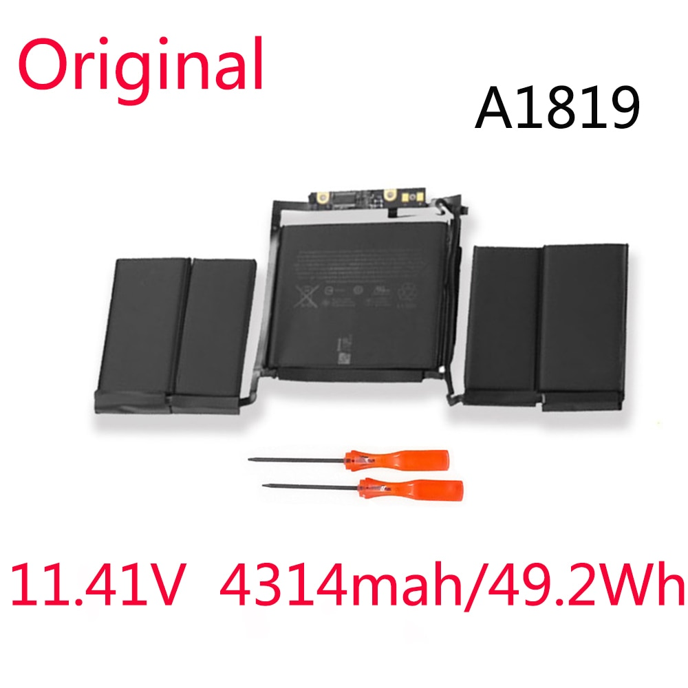 Get A1819 Original New Battery For Apple Macbook Pro 13 Inch A1706 Touch Bar Series 2017 2018 Years 11.41V 4314mAh/49.2Wh