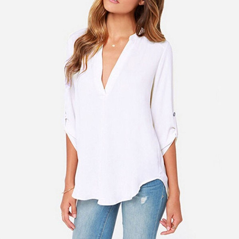 Women V neck chiffon top fashion Long sleeve rumpled sleeve Loose Chiffon women's pure color casual