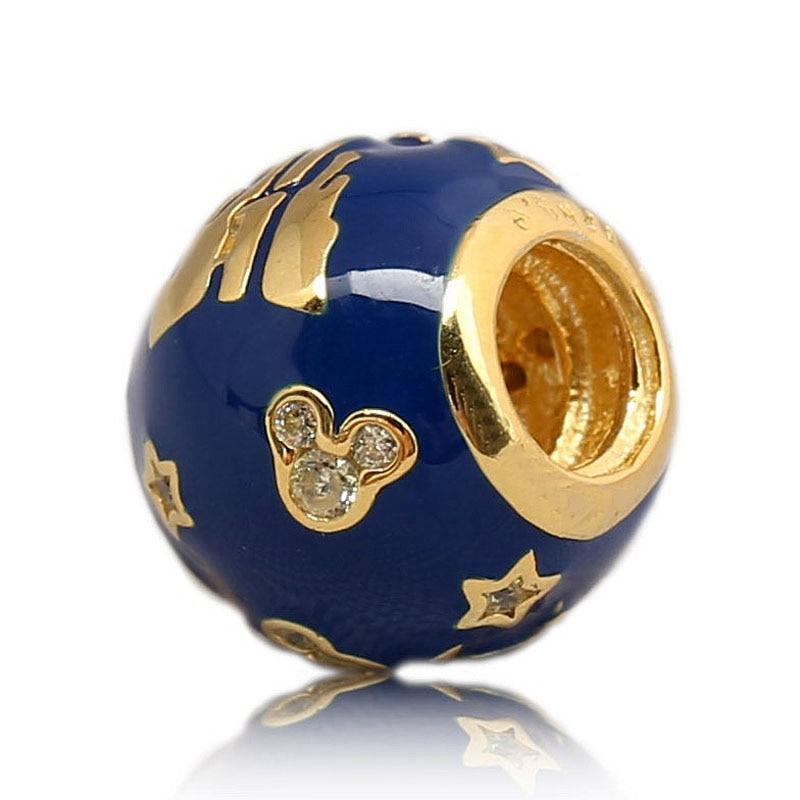 New 925 Sterling Silver Bead Charm Blue Enamel Gold Color Shanghai 1st Anniversary Castle Beads Fit Pandora Bracelet DIY Jewelry