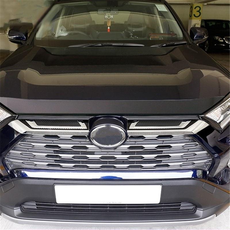 WELKINRY, funda para coche para Toyota RAV 4 V XA50 2018 2019 2020 RAV4, rejilla frontal para la cabeza, salida de aire, logo de marca embellecedora