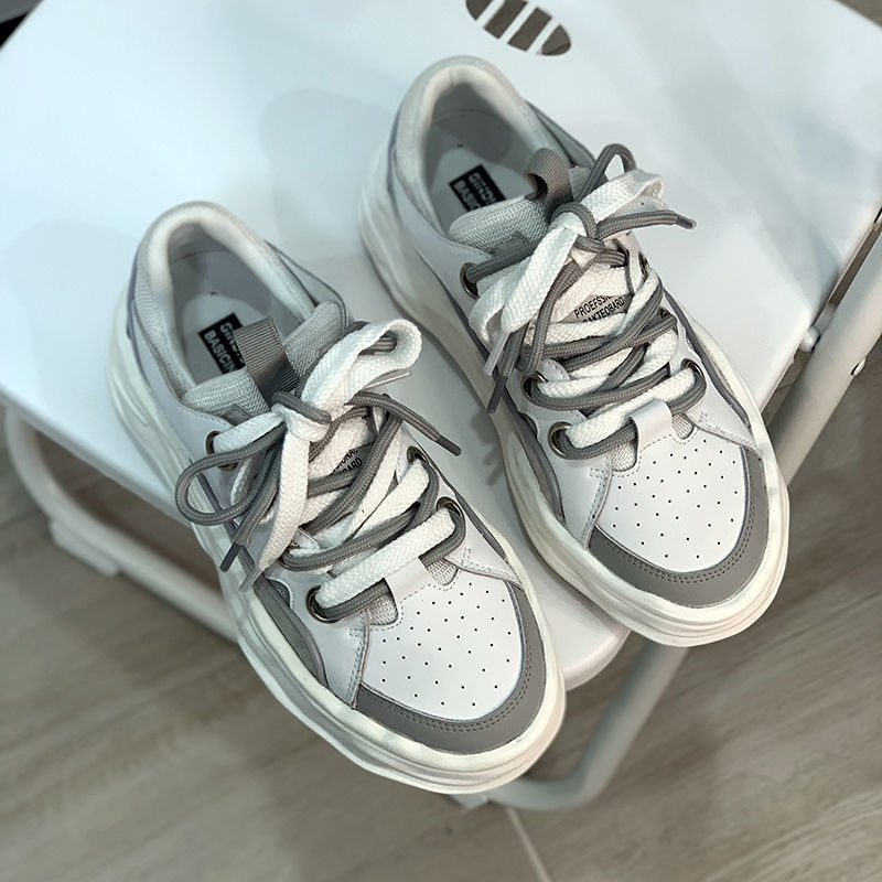QWEEK 2021 الأبيض الخريف أحذية رياضية النساء الجاموس تنس أحذية رياضية منصة مسطحة سلة غير رسمية تشغيل مبركن قماش المطاط