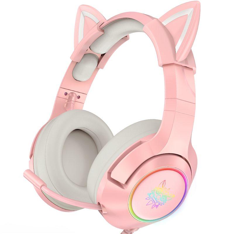 ONIKUMA New Gaming Headset Pink Cat Ear RGB Light PC Gamer Girl Gaming Headphones With Noise Canceli