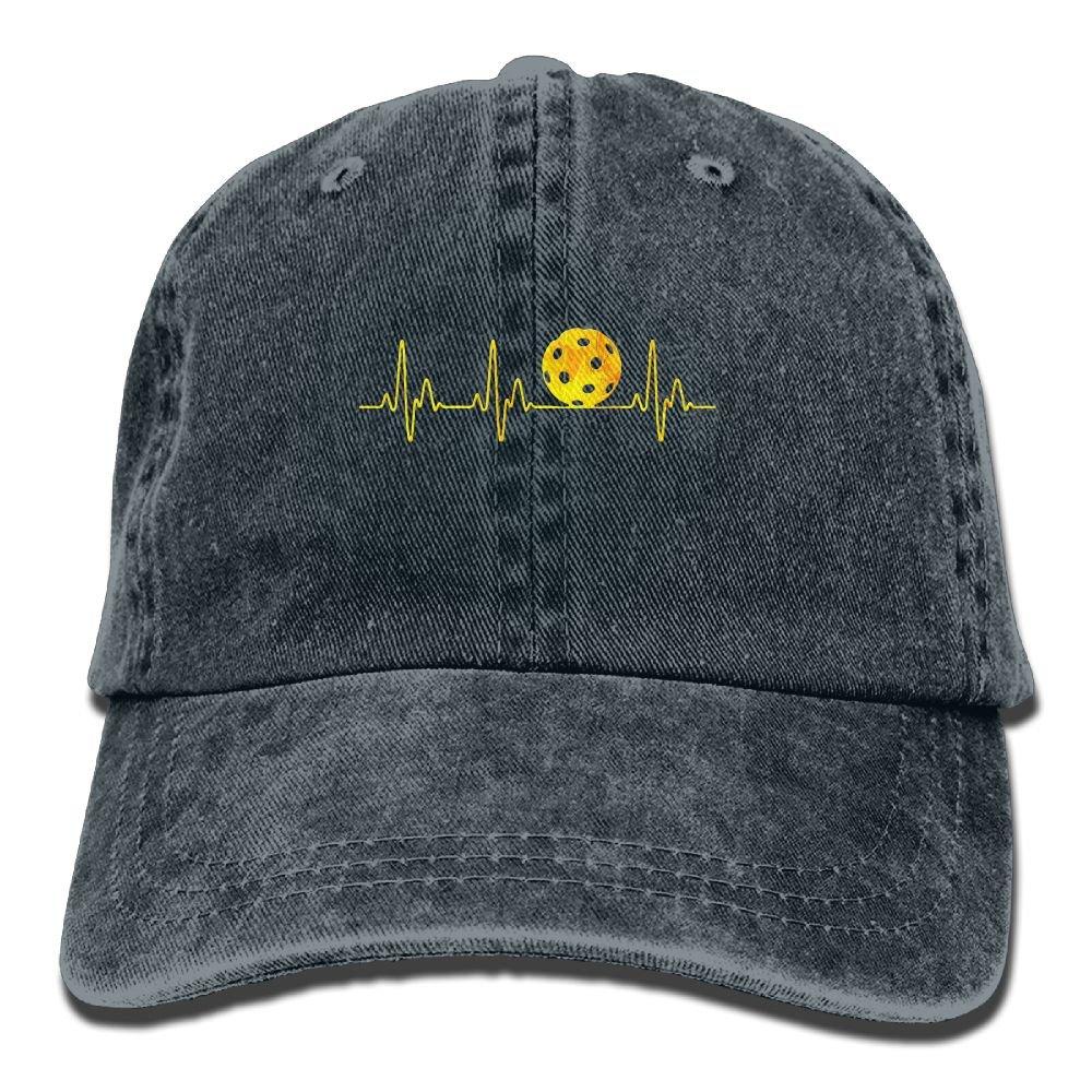 Pickleball Heartbeat Golden Adult Sport Adjustable Baseball Cap Cowboy Hat