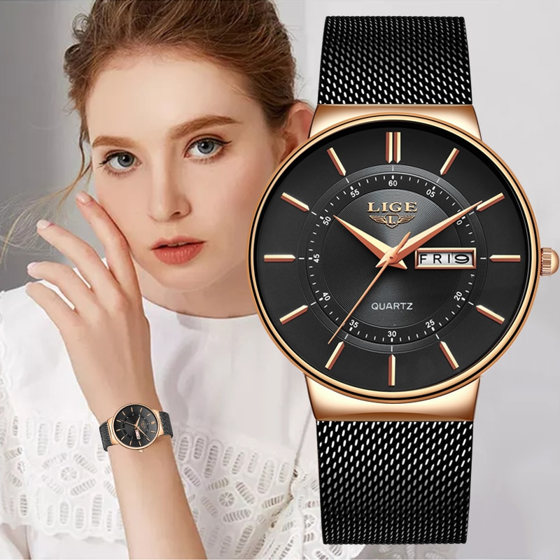 LIGE Women Watches Luxury Brand Ultra-thin Calendar Week Quartz Watch Ladies Mesh Stainless Steel Wa