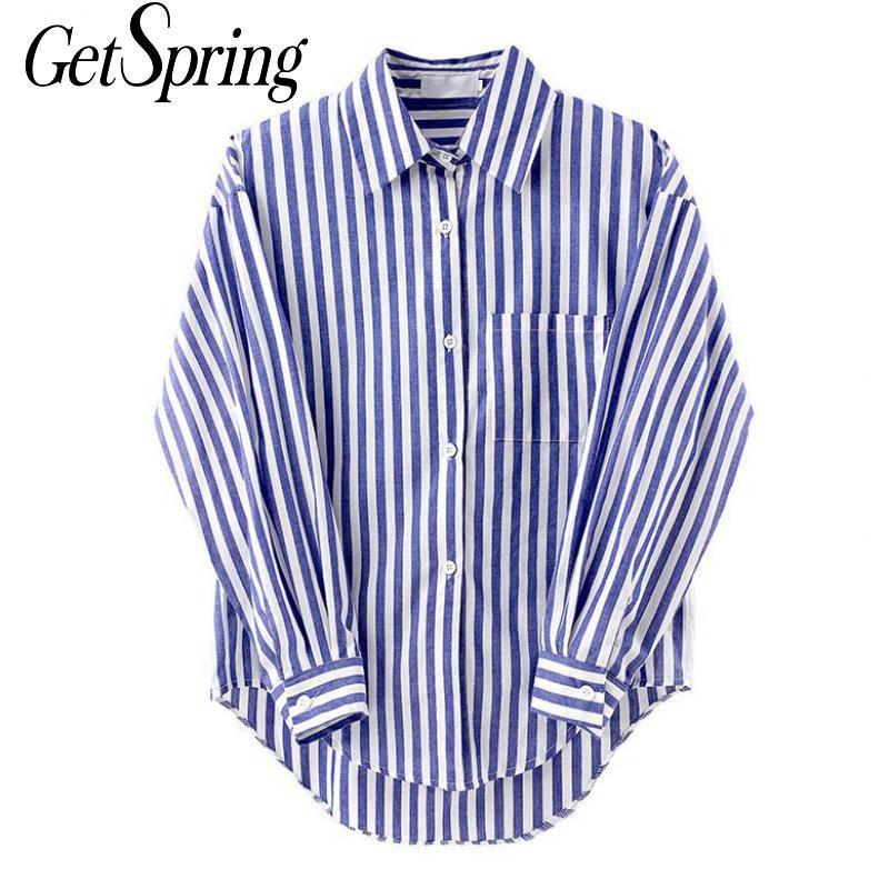 Getspring mulheres camisa de manga longa listrado mulher blusas camisas plus size casual solto vintage plus size feminino topos bloues 2020