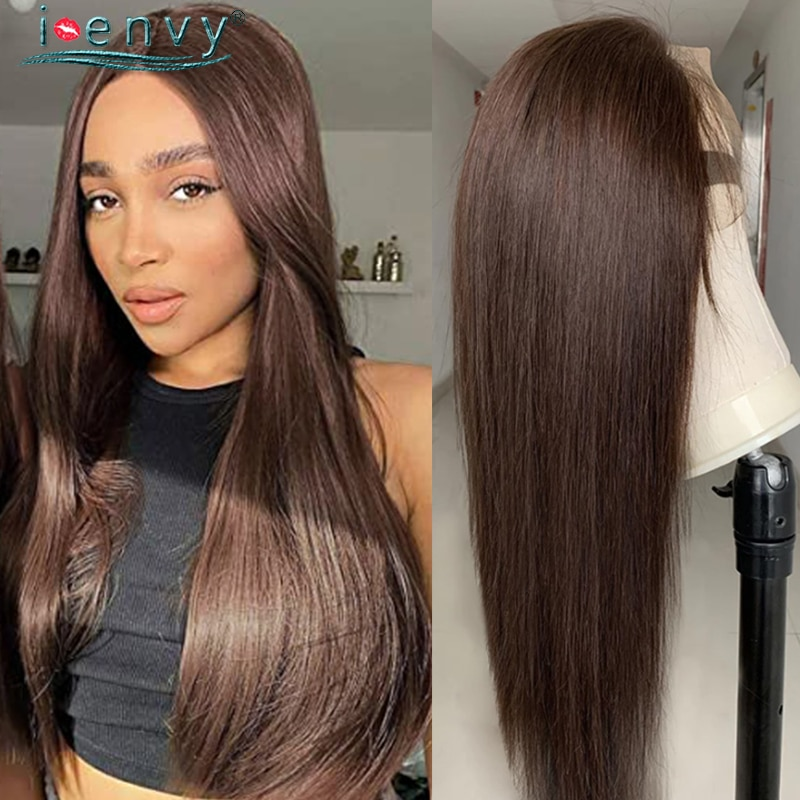 Dark Brown Human Hair Wigs Transparent Lace Wig Chocolate Color Straight Human Hair Lace Wigs Brazilian Hair Wigs For Women Remy