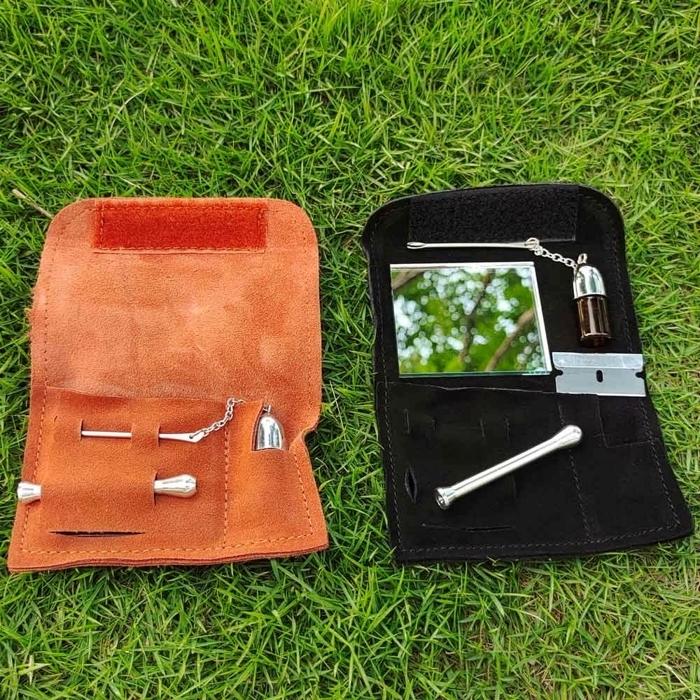 Купить с кэшбэком Honeypuff 100% Genuine Leather Tobacco Pouch Bag+Snorter Snuff Bottles with Spoon Sniffer Straw Hoover Pouch Bag Pipe Case