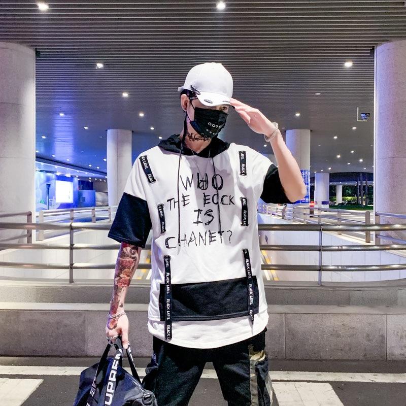 Camiseta de manga corta con capucha y cinta de bloque para hombre 2020, camiseta de calle de moda, ropa informal estilo Hip Hop