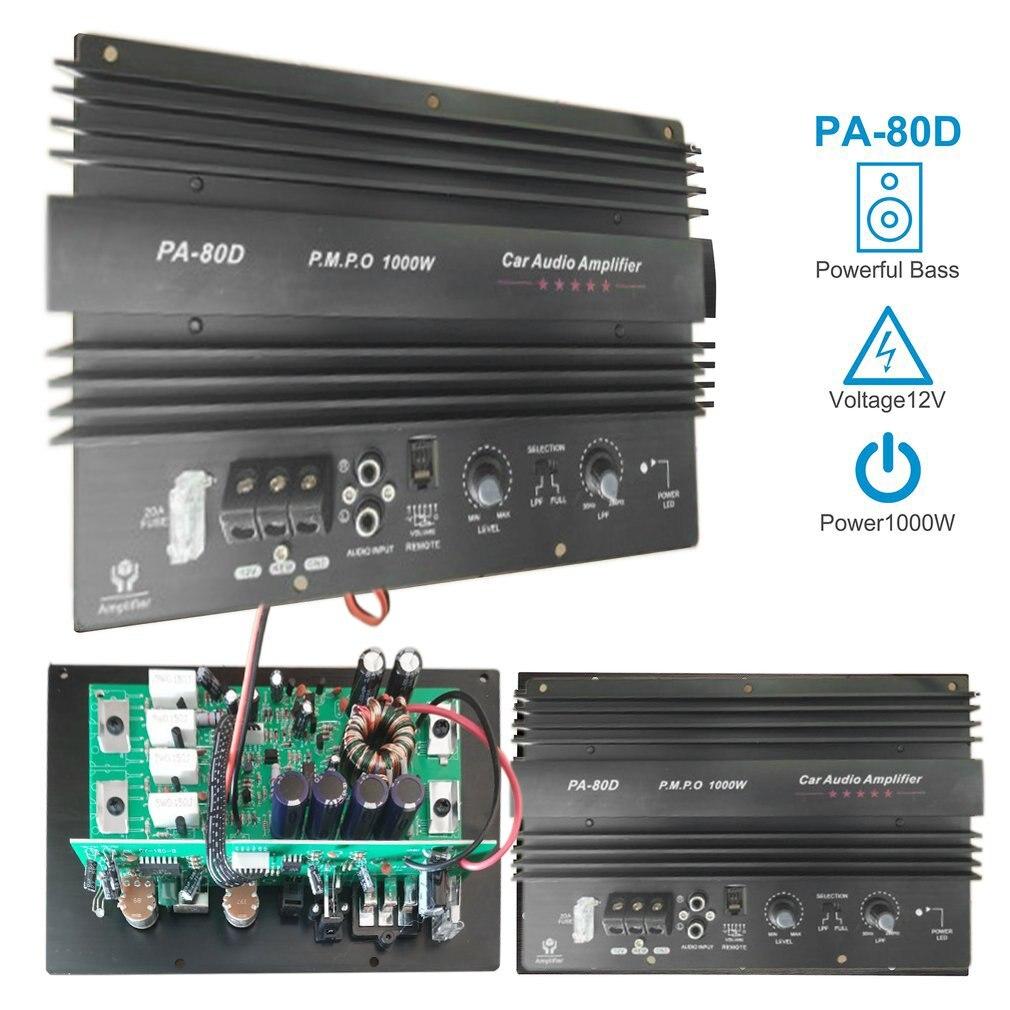12 فولت 1000 واط مكبر للصوت مجلس أحادية سيارة الصوت مكبر كهربائي قوي باس مكبرات الصوت أمبير لتعديل السيارة PA-80D