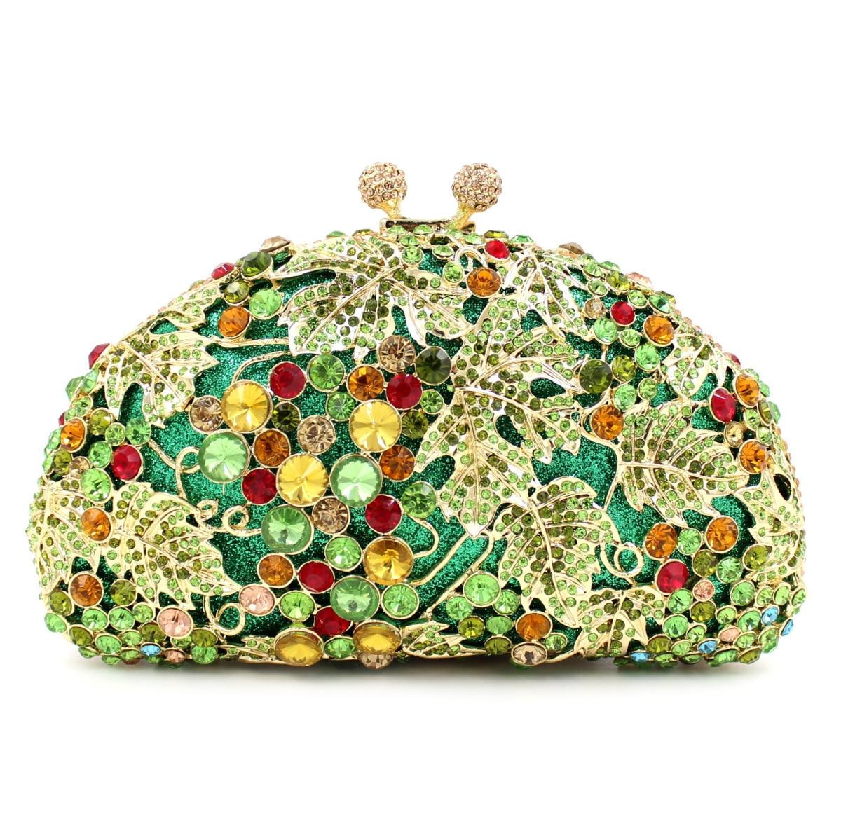 حقيبة عشاء من حجر الراين العنب الأخضر ، حقيبة عشاء من الكريستال والمعدن المموج للنساء ، حقيبة يد من الماس ، مقاس 18 × 10 سنتيمتر ، a6894