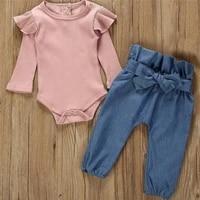 2pcs children suit fashion toddler kids baby girls clothing set pink beige t shirt tops jean denim pants outfits