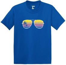 Okulary przeciwsłoneczne-palma sylwetka niemowlę/maluch bawełniany jersey T-Shirt (Royal Blue, 18 miesięcy) Unisex mężczyzna kobiet t shirt