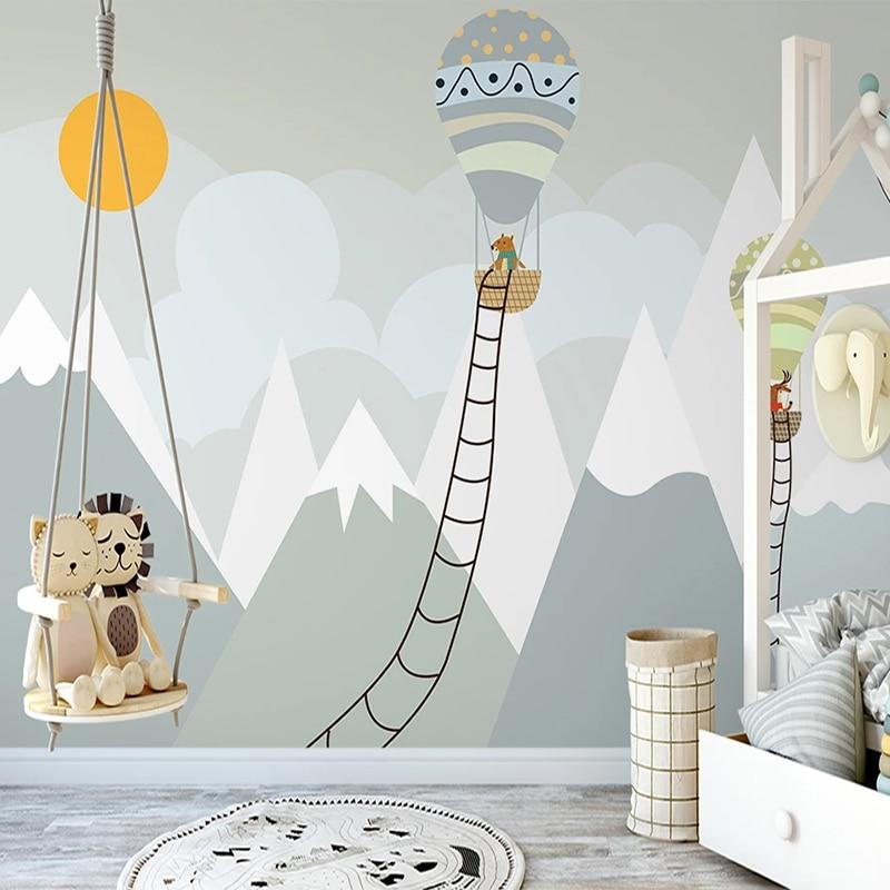 Custom Photo Mural 3D Hand Painted Mountain Sun Hot Air Balloon Animal Cute Children Room Bedroom Decor Wall Painting Wallpaper