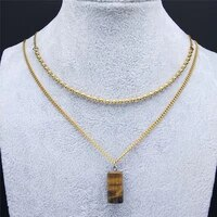 2pcs tiger eye stainless steel bead layered necklace for women gold color pendant necklace jewelry collar cuentas ne107s04