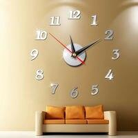 Современные большие настенные часы 3d зеркальные наклейки, уникальные большие часы «сделай сам», декоративные настенные часы, художественн...