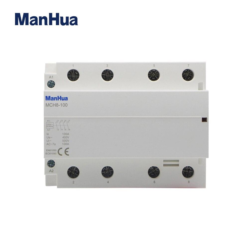 ManHua 400V 100A 4P AC hogar de Contactor eléctrico MCH8-100 ascensor Contactor Modular