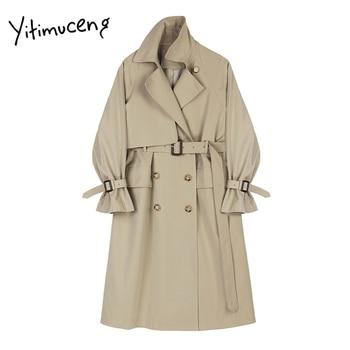 Yitimuceng Trench Coat with Belt Double Breasted Simple Classic Long Female Windbreaker Women Spring Autumn Khaki Black Jackets