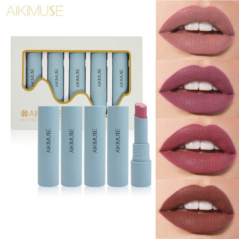 Juego de pintalabios mate brillante de larga duración lápiz labial impermeable desnudo Sexy rojo terciopelo labio rojo pigmentos marrones maquillaje nuevo