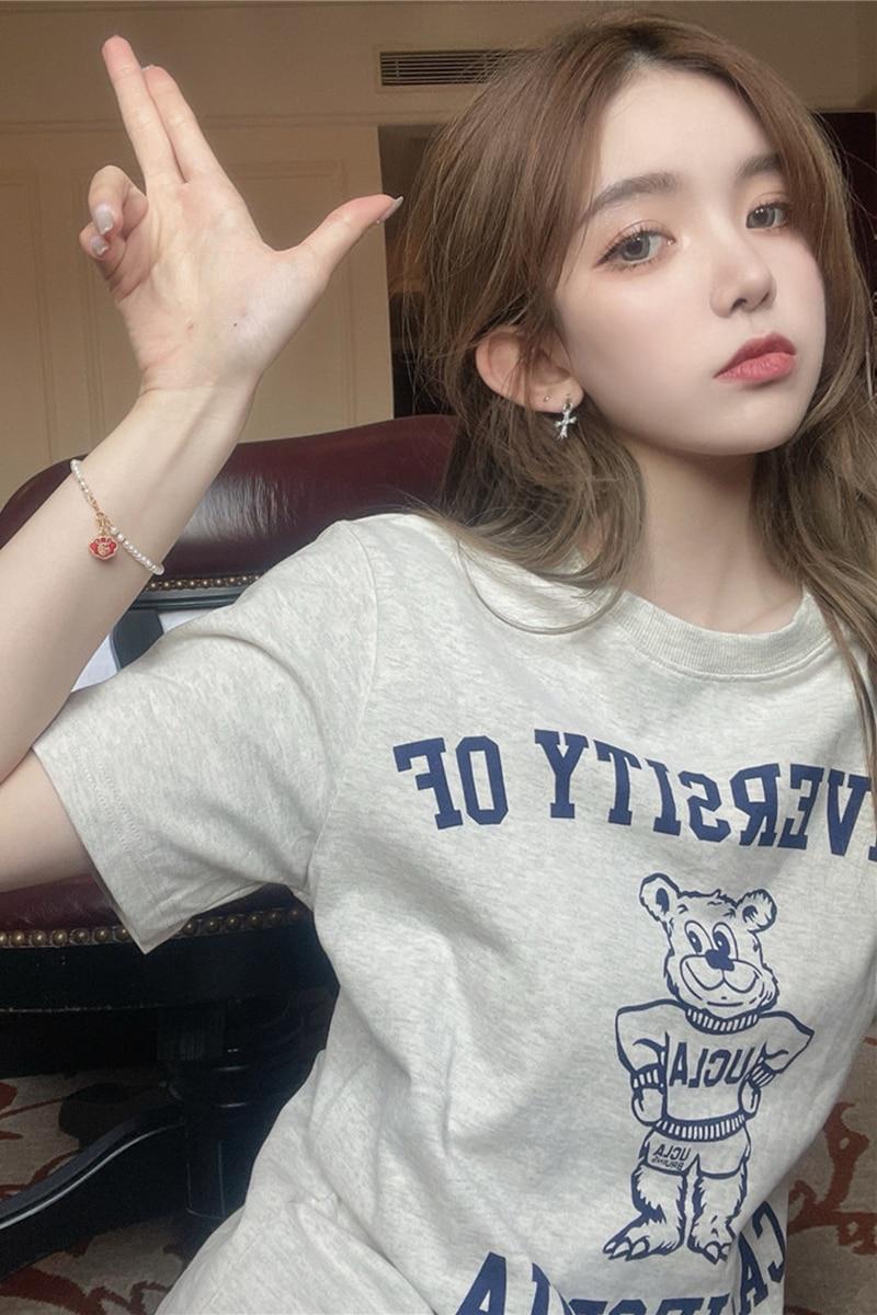 Bear T-shirt Women's Letter Underwear Blouse New Summer Korean Style Loose Casual Western Style Shor