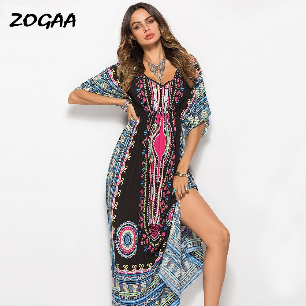 long sleeve scrawl printed v neck tee ZOGAA Long-sleeve V-neck Split-shoulder Long Printed Skirt