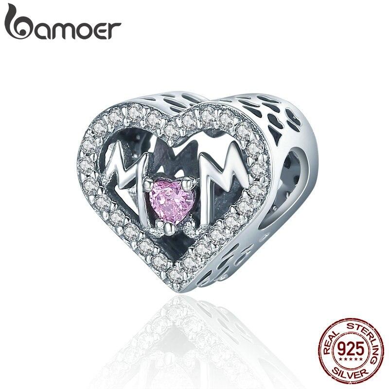 BAMOER Аутентичные 100% 925 пробы серебро сердце мамы письмо ясно CZ Шарм браслет шарма DIY, ювелирный подарок для матери SCC395