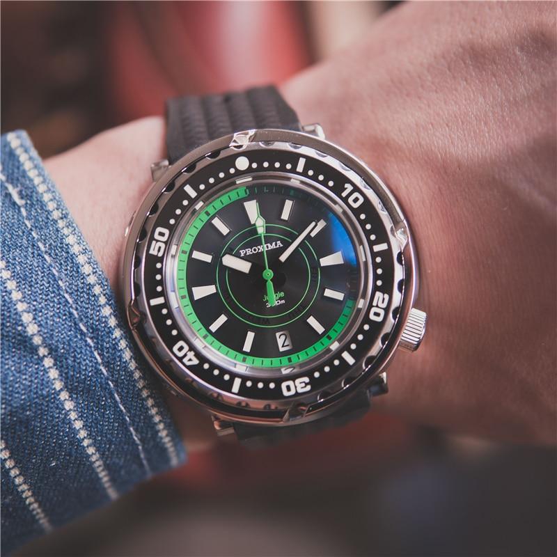 Relógio de Mergulho Relógio de Pulso Proxima Tuna Luminoso Homem Automático Mecânico Cerâmica Bisel Nh36 300m Masculino Dia-data Janela c3