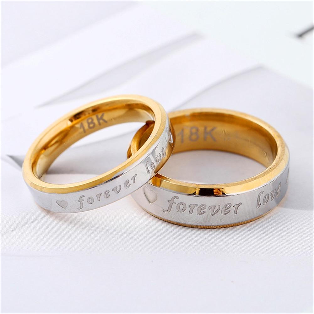 Loredana moda grabado para siempre personaje de Amor Eterno anillo de pareja de acero inoxidable 4mm, 6mm Especificaciones