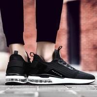 Chaussures de Sport a coussin dair pour hommes et femmes  baskets de course noires  course a pied